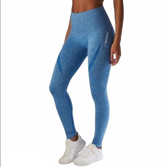 Gymshark Origin Seamless Leggings Blue Marl Sz s